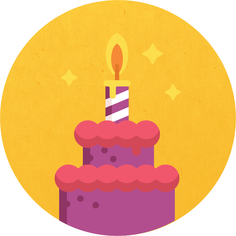 Graphic of candle in a cake