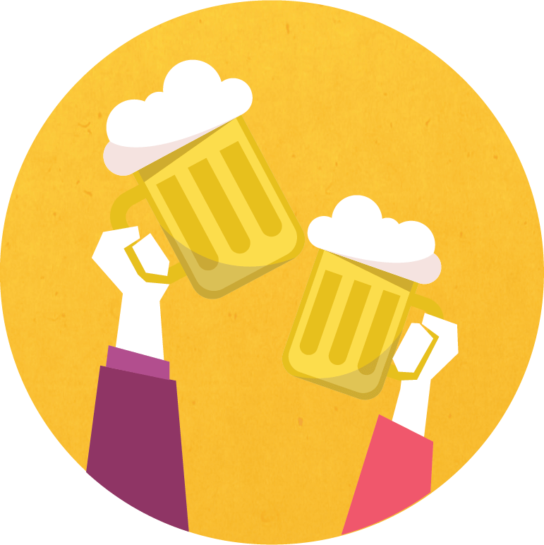 Graphic of two beer glasses