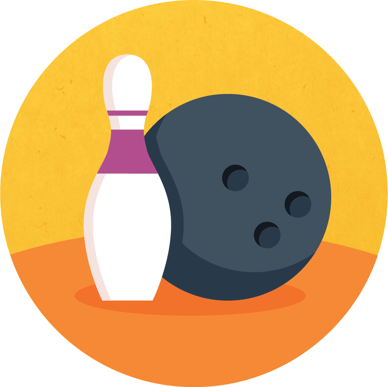 Graphic of a bowling ball and pin