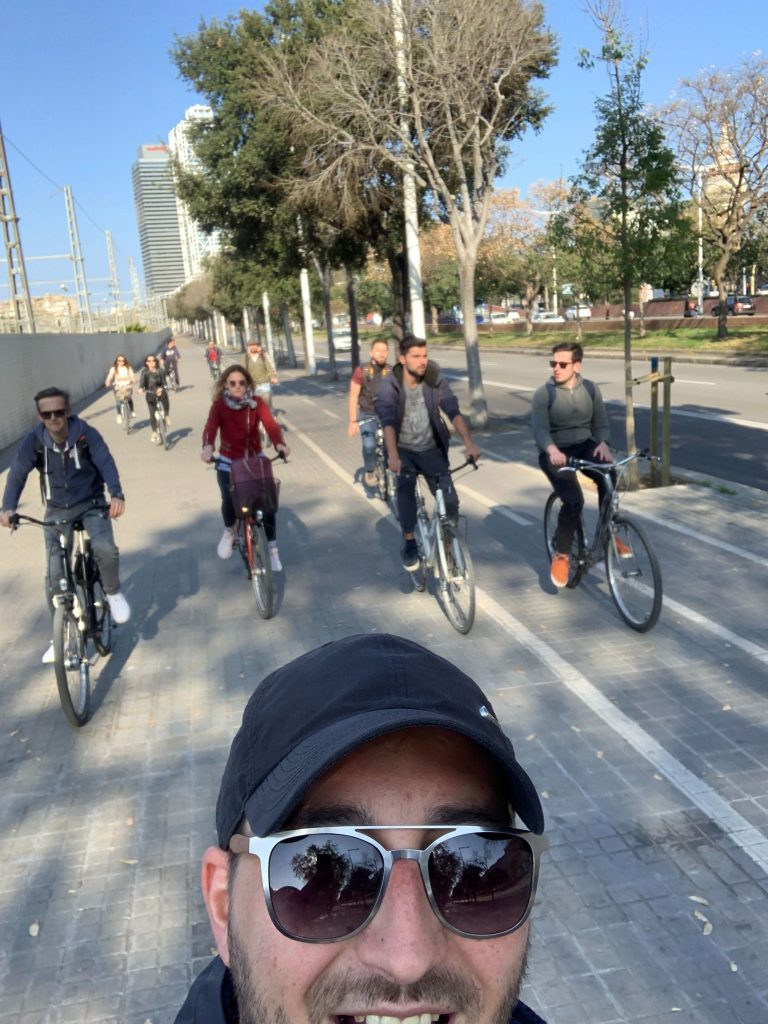 People on bicycles in Barcelona
